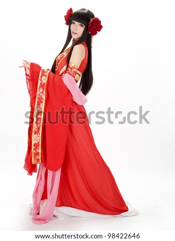 Asia / Chinese girl in red  traditional dress