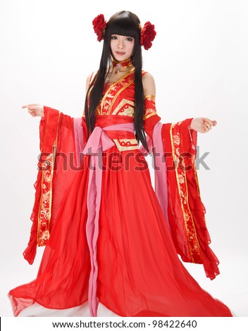 Asia / Chinese girl in red  traditional peony dress