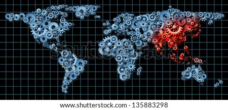 Asia economy and Asian economic activity as a business concept with a world map made of gears and cogs with China Japan Korea highlighted in red as an idea of economic growth.