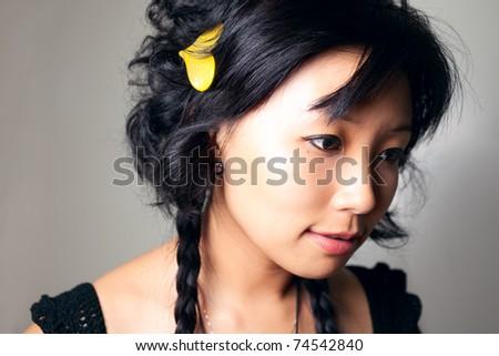 Asia girl close up shoot.