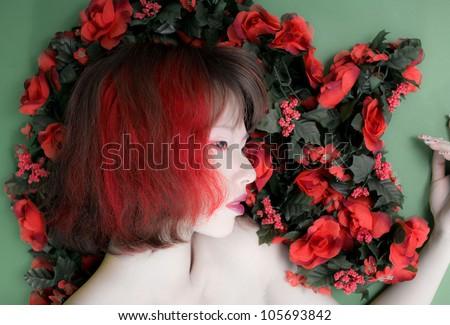 asia girl in red flower