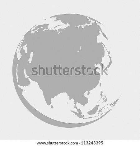 asia globe planet earth map