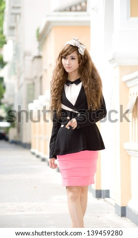 Asia japanese chinese girl with fashion dress