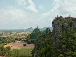 Asia landscape nature rock mountain. Beautiful tropical landscape buddha temple on the mountain in Thailand.