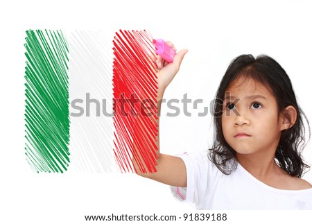 Asia Little girl drawing Flag of italy. on whiteboard