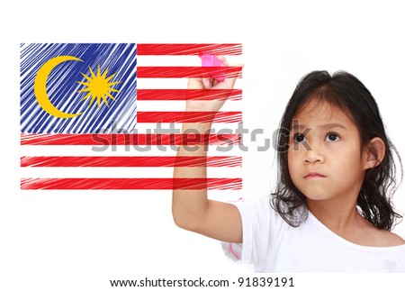 Asia Little girl drawing Flag of malaysia. on whiteboard - stock photo