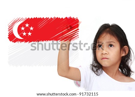 Asia Little girl drawing Flag of Singapore. on whiteboard