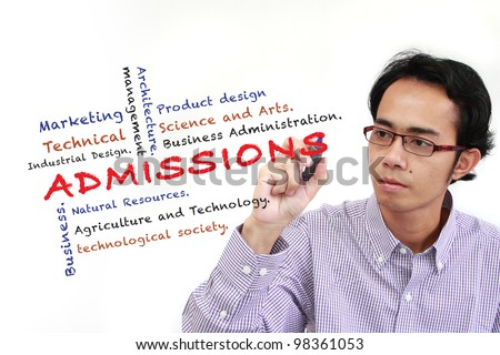 asia man writing Admissions of Faculty in University and other related words, on white board isolated on white background