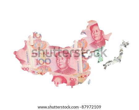 Asia map made by asian currency (include Chinese Money yuan, japanese Yen, Korean Won, Taiwan dollar)