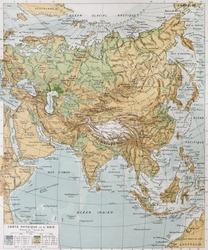 Asia physical map. By Paul Vidal de Lablache, Atlas Classique, Librerie Colin, Paris, 1894 (first edition)