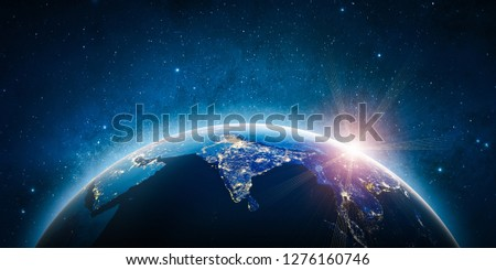 Asia planet Earth. 3D Rendering. Stars my own photo. Elements of this image furnished by NASA