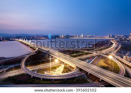 Asia's largest across the rivers in Shanghai landmarks a spiral bridge at night #395602102