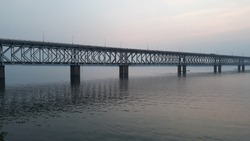 Asia's longest rail and road bridge across the Godavari river in the evening in rajahmundry, India