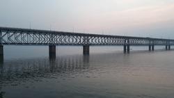 Asia's longest rail and road bridge across the Godavari river in the evening in rajahmundry, India