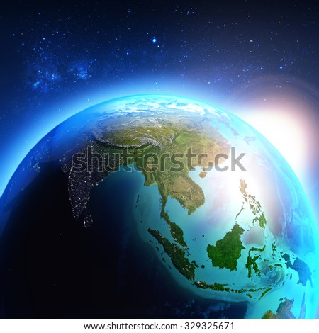 Asia seen from space / Elements of this image furnished by NASA. #329325671