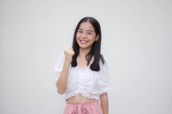 asia thai teen White t-shirt beautiful girl excellent