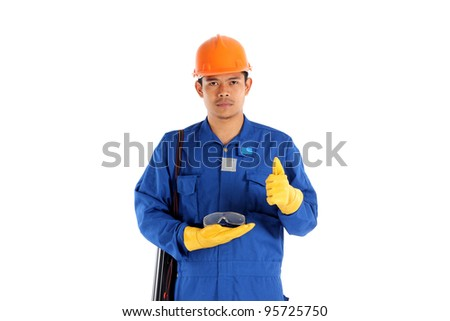 asia worker with Construction safety glass concept