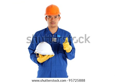 asia worker with Construction safety helmet concept