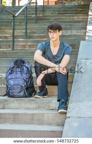 a84dd5e8cf8 Asian American college student studying in New York. 20 years old man  wearing v neck
