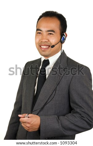 Asian American man on a handsfree call