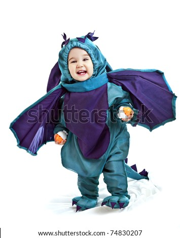 asian baby boy in a dragon fancy dress
