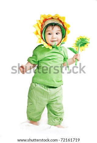 asian baby boy in a sunflower  fancy dress