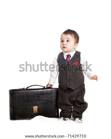 asian baby boy in as a businessman
