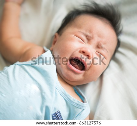 asian baby cry from hungry ...