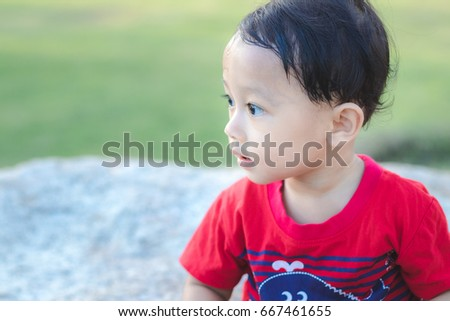 Asian Baby Cute Boy In The Park 667461655