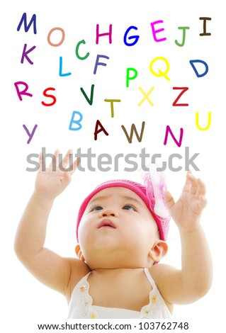 Asian baby is trying to reach alphabet words