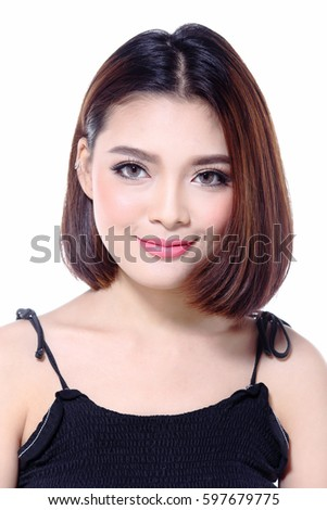 Asian Beautiful Unique Face with Plastic Surgery Operation Cosmetology, in Black small dress and brown suit jacket short hair, half body, studio lighting grey background, morning concept