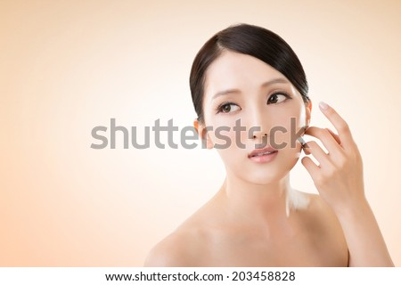Asian beauty face closeup portrait with clean and fresh elegant lady.