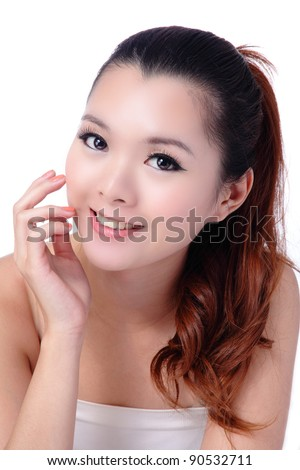 Asian beauty skin care woman smiling close-up, Beautiful young woman touching her face looking to the side. Isolated on white background