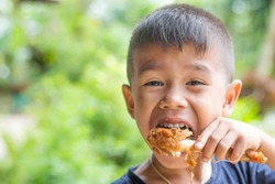 Asian boy Eating Chicken/child eating a chicken leg