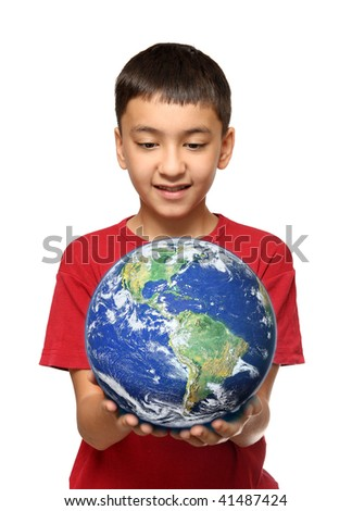 asian boy holding earth planet isolated on white