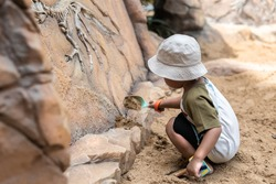 asian boy with his showel digging educational fossil dinosaur bones