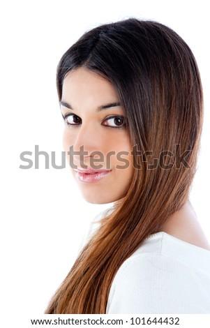 asian brunette indian woman with long hair portrait