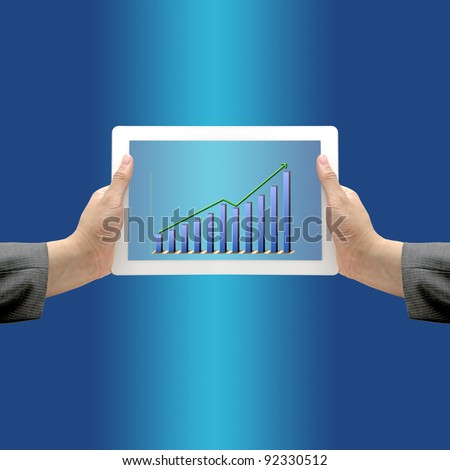 Asian Business Hand hold Touch Screen Pad with Up Trend Revenue Graph