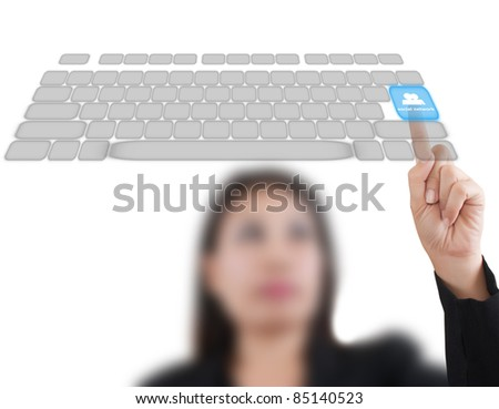 Asian business lady pushing keyboard on the whiteboard.
