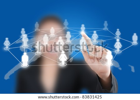 Asian business lady pushing people communication on the whiteboard.