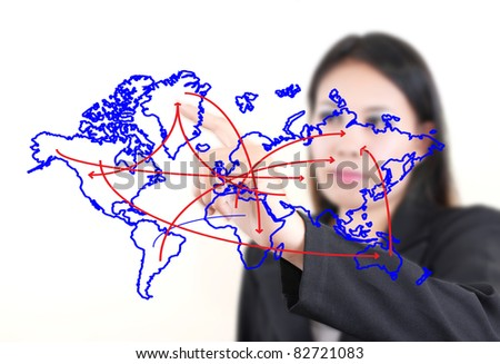 Asian business lady pushing world map line on the whiteboard.