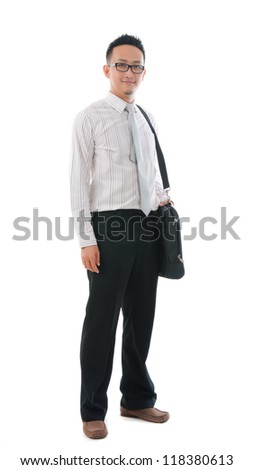 asian business  male with bag ,full body, smiling