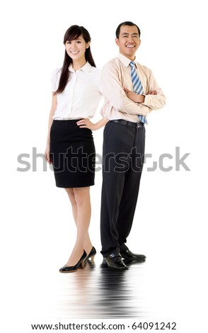 Asian business man and woman, full length portrait over white background.