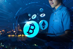 Asian Business man Digital cryptocurrency market Bitcoin Ethereum token coin symbol graph rising trend concept, online network chain digital money currency technology computer code encryption