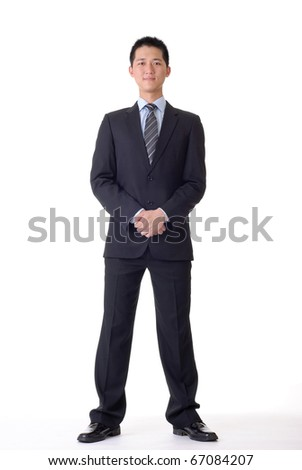 Asian business man, full length portrait on white background.