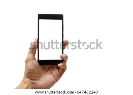 asian business man is holding a smartphone on his hand and isolated on white background. #647482249