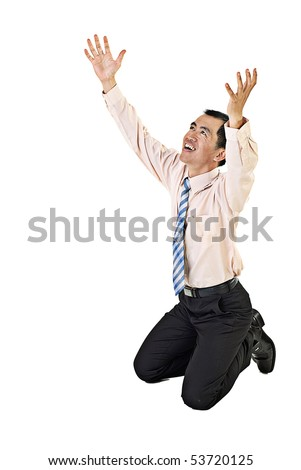 Asian business man kneel on white background and begging. - stock photo