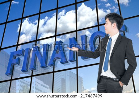 Asian business man presenting finance use for business background