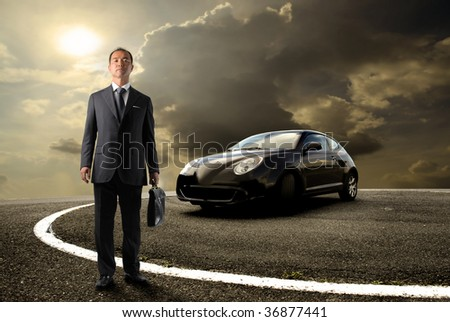 asian business man standing near to sport car