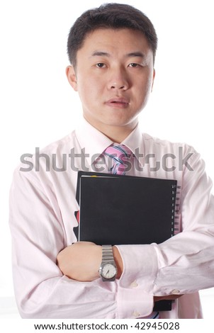 Asian business man  with files isolated on a white background - stock photo